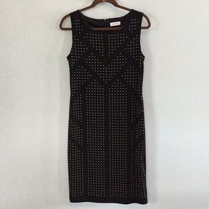 Black & Gold Stud Dress by Calvin Klein Size 10